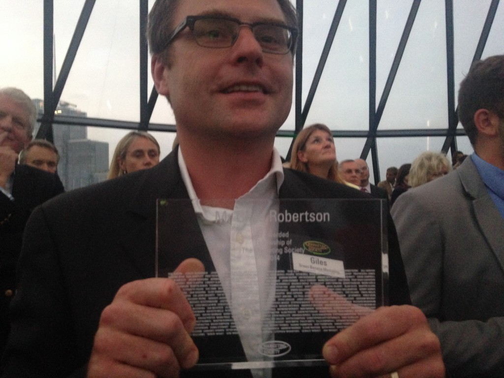 Giles Robertson awarded Fellowship of Marketing Society at the Fellowship Awards, The Gherkin 27/09/2014
